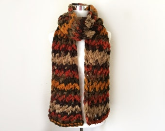 Chunky hand knit scarf gift or for you