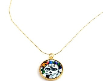 Day of the Dead Skull Charm Necklace, Skull Jewelry, Halloween Necklace, Gifts, Fall Holiday