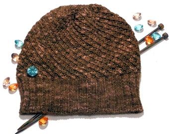 Knit beanie - hand knit hat - merino beanie - brown beanie - slouchy hat - winter accessories - gift for women - woman hat
