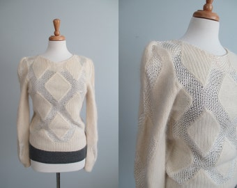 VTG 80s / 90s MiNiMaLisT WoVeN CReaM SwEaTeR with GaTHeReD SLeeVeS  \\ SMALL