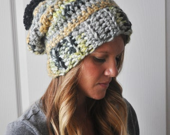 Slouchy Beanie Boho Crochet Hat Gray Multi
