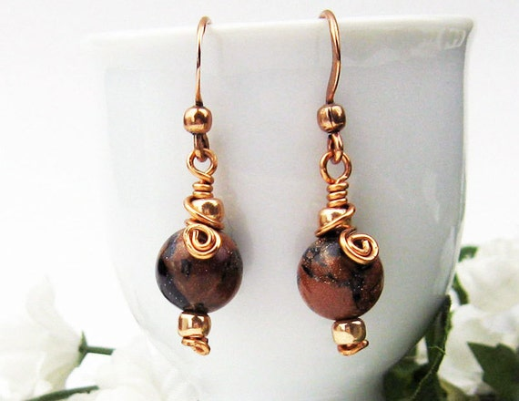Dangle Earrings, Goldstone, Wire Wrapped, Sapphire Goldstone, Copper Wire, Glass Beads, Celtic Spirals, Handmade Gift, Alchemists Stone