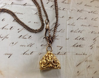 """PRICED TO SELL Vintage Gold Filled Repouse Filigree Fleur de Lis Watch Fob Necklace - 19"""" Etsy Andersonhs"""