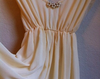 Pale Yellow Night Gown With Pearls