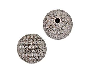 Black Diamond Sterling Silver Round Ball Bead, Pavé Set Black Diamond Bead, Beautiful, Fine Jewelry Supply, Three Sizes 8mm, 10mm 12mm
