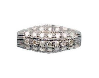 Pavé Diamond Rice Shaped Bead, Pavé Diamond Oval Shaped Bead, Perfect as a Focal for Stacking Bracelets; Bright Diamonds; 2 Sizes