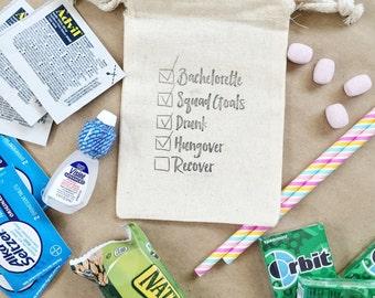 Hangover Bachelorette Checklist Bag - Bachelorette Party Favor - Bridesmaid bag favor- bridesmaid gift- bachelorette gift- bachelorette bags