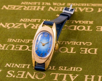 Luch ladies watch, gold ladies watch, russian womens watch, blue strap watch, vintage womens watch, wind up ladies watch, watches for women