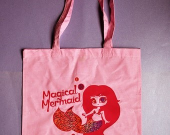 Pink magical mermaid holographic glitter print tote bag - pastel goth or fairy kei