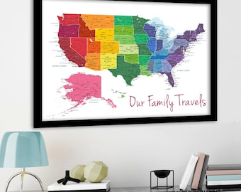 Bright Rainbow Color United States Map Us Map Canvas Family Travel Push Pin Map