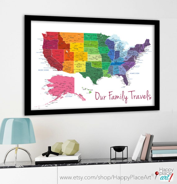Bright rainbow color united states map US map by HappyPlaceArt – Family Travel Map