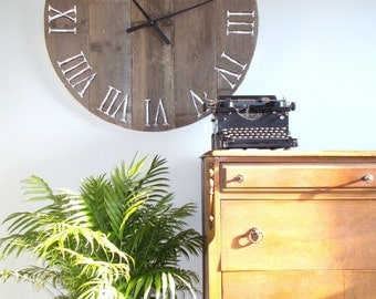 "39.5"" Rustic Weathered Salvaged Wood Clock - Very Large Clock"