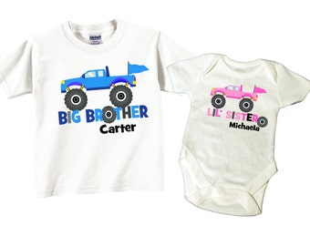Big Brother Little Sister Sibling Shirt Sets Monster Truck Tees