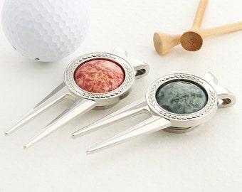 His and Her - Golf ball mark repair tool with Blue & Pink Box Elder Burl