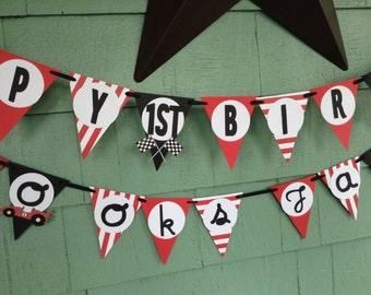 Race Car birthday banner racing car party racecar