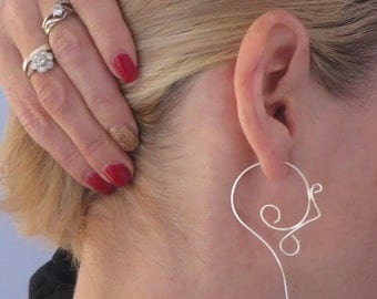 Silver Tribal Earrings, Sterling Silver Spiral Hoops,  Large Coil, Women, Long Earrings, Threader