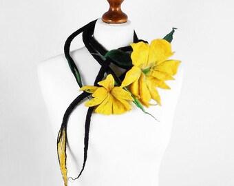 Felted Collar ALICE IN WONDERLAND Belt felt Necklace Flower art jewerly nunofelt Nuno felt collar Art deco silk Fiber Art boho