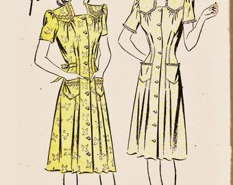40's Advance Unprinted Pattern 3936 Yoke-Shoulder Detail Dress Sz Bust 42 Unprinted Appears FF Vintage Sewing Patterns Supplies