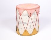 Antique Faded Pink and Mustard Drum - Casco Bay Trading Post
