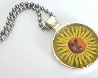 Sun Silver Tray Necklace with Stainless Steel Ball Chain - celestial accessories - nature