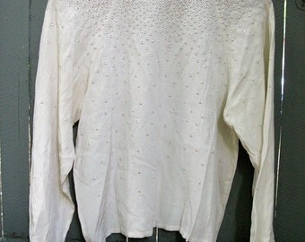 Silk Shirt with Embroidered Eyelets
