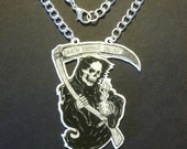 Reaper Pendant Death Before Decaf Shrink Plastic Hand-drawn