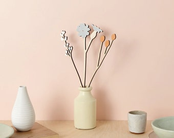 Wooden flowers - plywood flowers - Campion & Berry Set