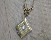 Rhombus locket necklace, rhombus necklace, antique locket necklace, antique bronze victorian locket necklace vintage, victorian jewelry
