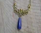 Lapis lazuli necklace, lapis lazuli jewelry, victorian lapis lazuli necklace, lapis lazuli drop blue victorian necklace, victorian jewelry