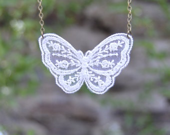 White lace butterfly, spring jewelry white lace necklace, lace jewelry, white butterfly necklace dainty butterfly jewelry Romantic jewelry