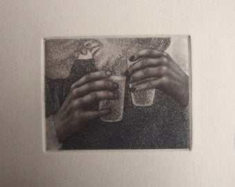 Toast - tiny unframed etching/mezzotint original intaglio print by Carrie Lingscheit