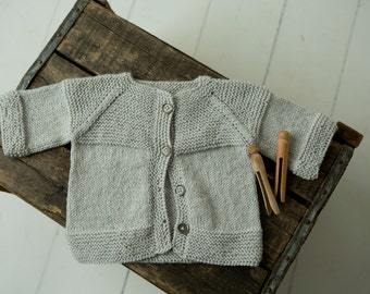 handknit baby sweater cardigan. light gray grey soft knit 3-6 months