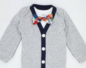 Baby Boy Cardigan Onesie and Bow Tie Set - First Birthday - Preppy Baby Outfit