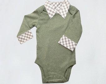 Baby Boy Onesie with Collar - First Birthday Dressy Onesie - Gray Gingham Collar New Baby Gift