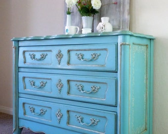 French Provincial Dresser/Chest of Drawers. Entryway Cabinet. Buffet. Solid Wood. Hand Painted in Sherwin Williams Reflecting Pool.