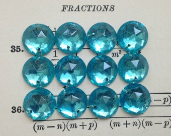 Vintage Aqua Blue Glass Round Sew-On Rhinestones - Foil Back, Faceted Dome - Flat Stones, Cabs, Buttons, Beads - 11mm - Qty 12