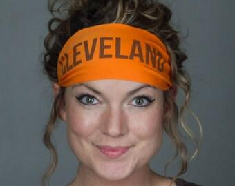 Cleveland Headband - Brown and Orange Football headband by Manda Bees Yoga Headbands for Running + Sports / Cleveland fans - CLEVELAND