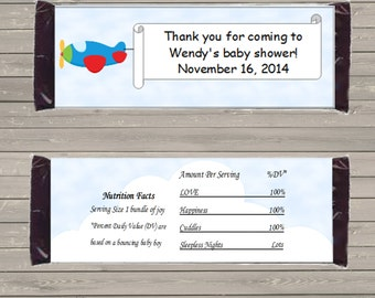 Customizable Printable Airplane Candy Bar Wrapper for 1.5 oz Hershey Bars