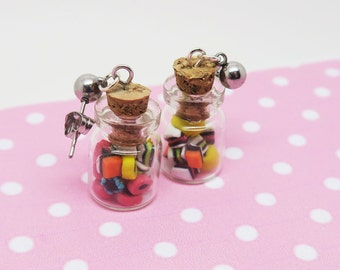 Licorice earrings, bottle earrings, food jewelry, licorice jewelry, candy jewelry, candy earrings, licorice bottle earrings