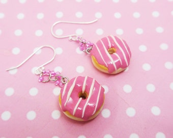 Pink Donut Earrings - Sterling silver - Candy Jewelry - Miniature Food Jewelry, food jewelry, donut jewelry , kawaii donut