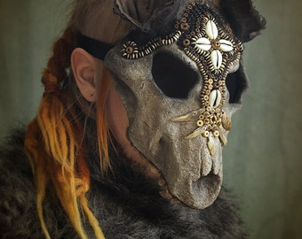 Beaded Wolf Skull Mask - Hand made, Papier maché, Paper clay, Halloween Costume