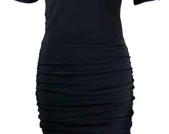 Baylis & Knight Black  Mesh Top Magic Ruched Skirt  Wiggle Knee Pencil Dress  Vintage Style Dita Burlesque