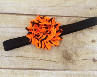 Halloween Black and orange dot  Headband Shabby chic flower baby headband newborn girl