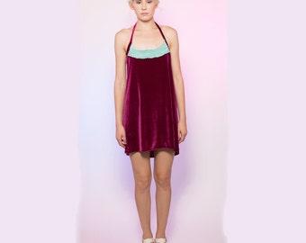 Deep Pink Silk Velvet Halter Dress with Mint Crochet Detailing