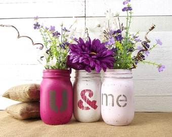 Mason Jar Centerpiece, Valentines Day Decor, Tabletop Decor, Painted Mason  Jars, Tabletop