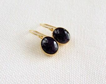 Black Sparkle Earrings, Goldstone Oval Modern Gold Dainty Earrings, Bezel, Modern Bridal Simple Glitter