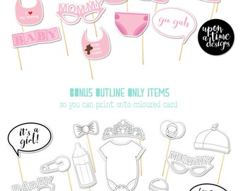 Baby Shower Photo Booth Props in Pink - Printable Instant Download - Baby Beanie, Dummies/Pacifiers, Bibs and more