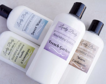 Any FOUR 8 oz Natural Lotion Bottles, Choose Your Own Scent Variety Pack Nourishing Lotion - Moisturizer 8 oz - Aloe, Avocado Oil, Shea