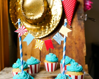Carnival Cake Bunting - Circus Cake Bunting - Mini Cake Bunting - Instant Download and Edit File at home with Adobe Reader