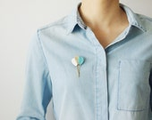 Brooch pin balloons leather white, blue mint and gold { woman french jewel pop poetic original modern sweet childhood jewel }